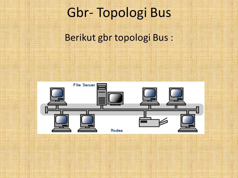 Keuntungan & Kelemahan Topologi Bus Keuntungan dari topologi ini adalah : • Instalasinya sangat sederhana dan relatif lebih ekonomis dgn maksimal terdiri dari 5-7 unit komputer.