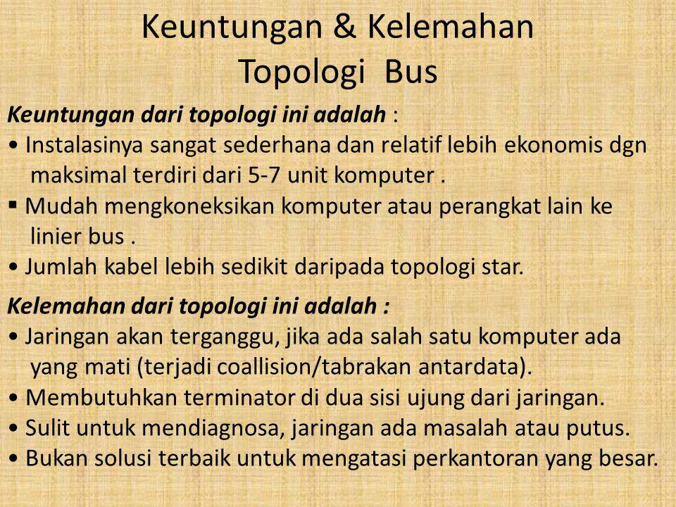 Keuntungan & Kelemahan Topologi Bus Keuntungan dari topologi ini adalah : • Instalasinya sangat sederhana dan relatif lebih ekonomis dgn maksimal terd