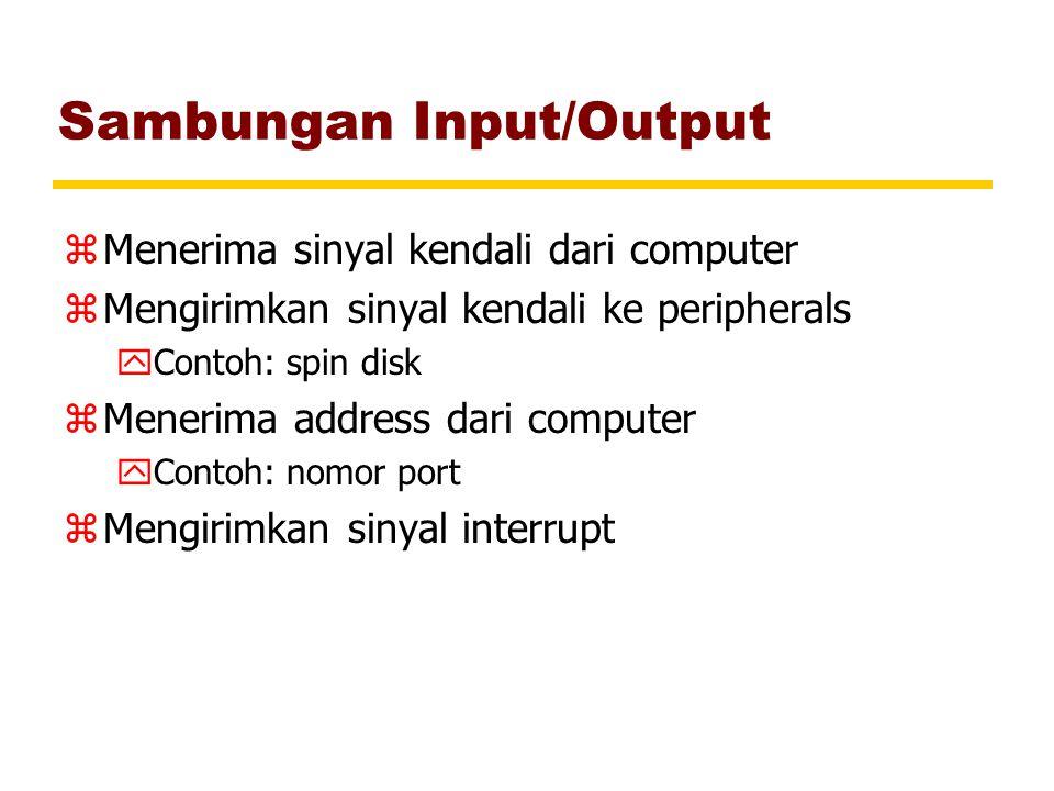 Sambungan Input/Output zMenerima sinyal kendali dari computer zMengirimkan sinyal kendali ke peripherals yContoh: spin disk zMenerima address dari com