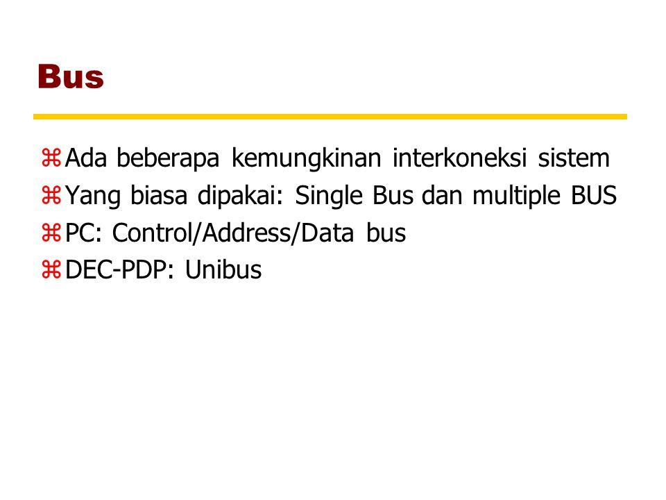 Bus zAda beberapa kemungkinan interkoneksi sistem zYang biasa dipakai: Single Bus dan multiple BUS zPC: Control/Address/Data bus zDEC-PDP: Unibus