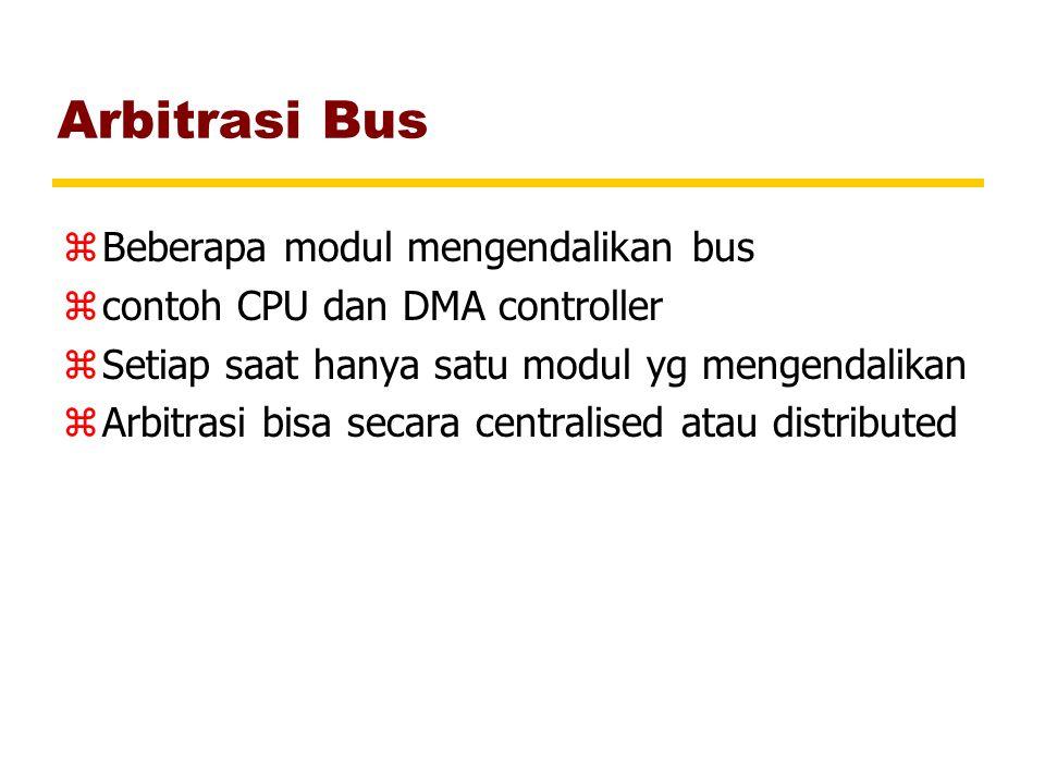 Arbitrasi Bus zBeberapa modul mengendalikan bus zcontoh CPU dan DMA controller zSetiap saat hanya satu modul yg mengendalikan zArbitrasi bisa secara c