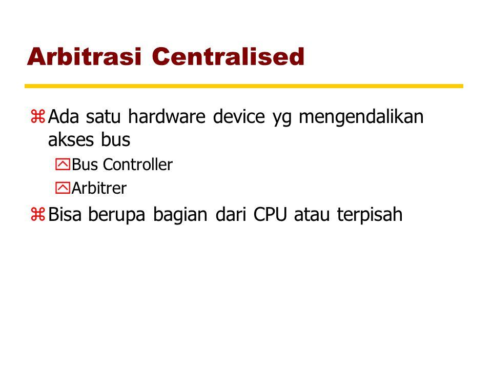 Arbitrasi Centralised zAda satu hardware device yg mengendalikan akses bus yBus Controller yArbitrer zBisa berupa bagian dari CPU atau terpisah