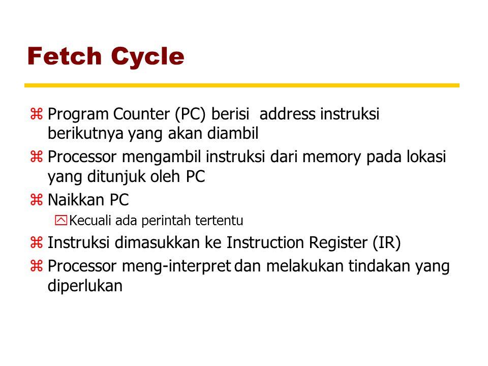Fetch Cycle zProgram Counter (PC) berisi address instruksi berikutnya yang akan diambil zProcessor mengambil instruksi dari memory pada lokasi yang di