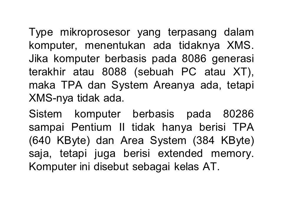 Type mikroprosesor yang terpasang dalam komputer, menentukan ada tidaknya XMS. Jika komputer berbasis pada 8086 generasi terakhir atau 8088 (sebuah PC