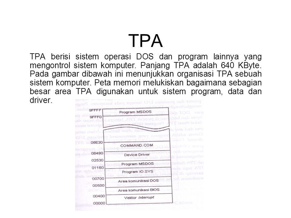 TPA TPA berisi sistem operasi DOS dan program lainnya yang mengontrol sistem komputer. Panjang TPA adalah 640 KByte. Pada gambar dibawah ini menunjukk