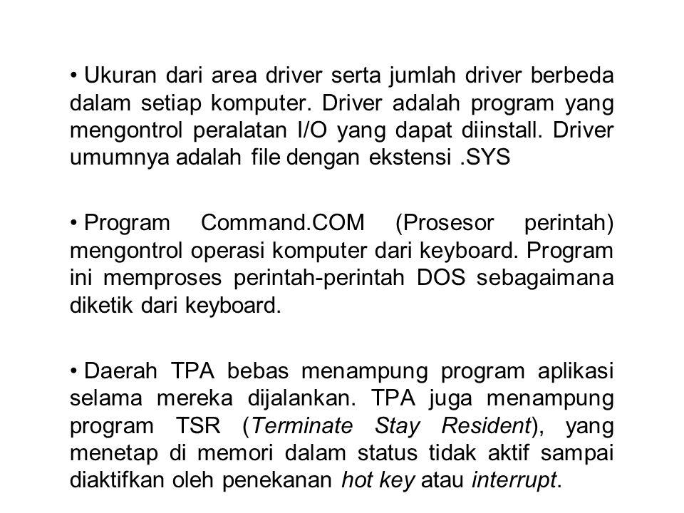 • Ukuran dari area driver serta jumlah driver berbeda dalam setiap komputer. Driver adalah program yang mengontrol peralatan I/O yang dapat diinstall.