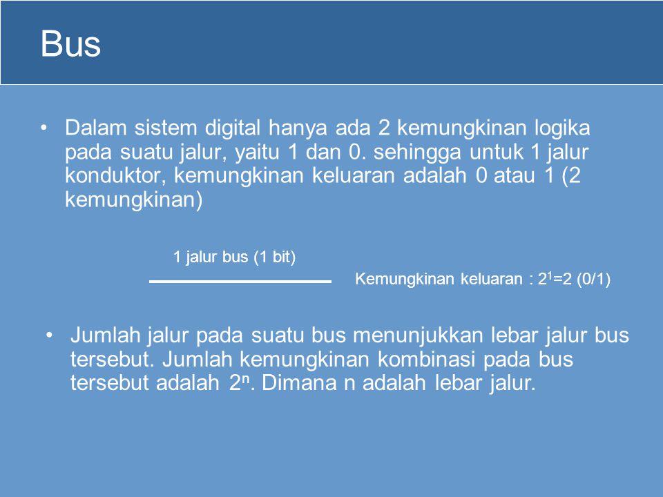 Bus •Dalam sistem digital hanya ada 2 kemungkinan logika pada suatu jalur, yaitu 1 dan 0. sehingga untuk 1 jalur konduktor, kemungkinan keluaran adala