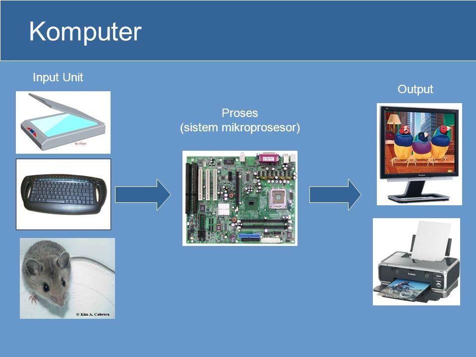 Sistem Mikroprosesor •Di dalam komputer, mikroprosesor bekerja bersama-sama dengan memory, input unit dan output unit untuk membentuk suatu sistem.