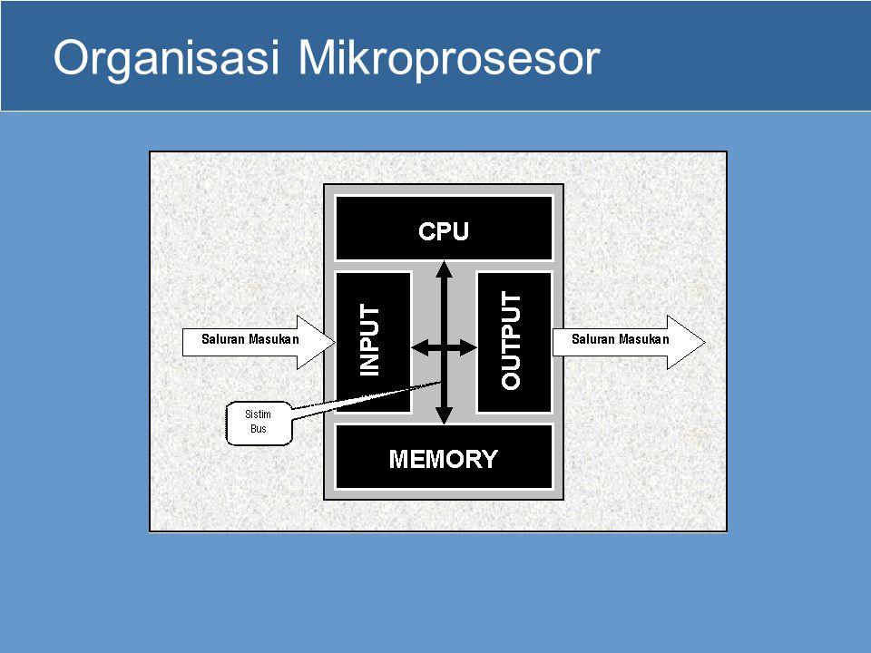 Bus pada Mikroprosesor •Pada mikroprosesor terdapat 3 bus, yaitu : –Bus Data –Bus Alamat –Bus Kontrol