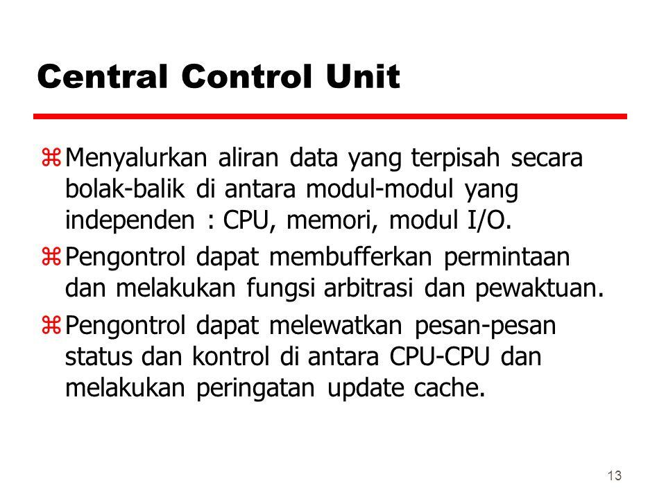 13 Central Control Unit zMenyalurkan aliran data yang terpisah secara bolak-balik di antara modul-modul yang independen : CPU, memori, modul I/O. zPen