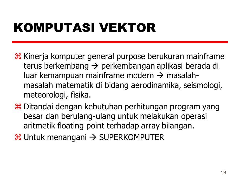 19 KOMPUTASI VEKTOR zKinerja komputer general purpose berukuran mainframe terus berkembang  perkembangan aplikasi berada di luar kemampuan mainframe