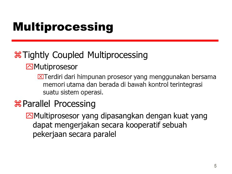 26 Multiple Instruction, Single Data Stream - MISD zSequence of data zTransmitted to set of processors zEach processor executes different instruction sequence zNever been implemented zMengeksekusi beberapa program yang berbeda terhadap data yang sama.