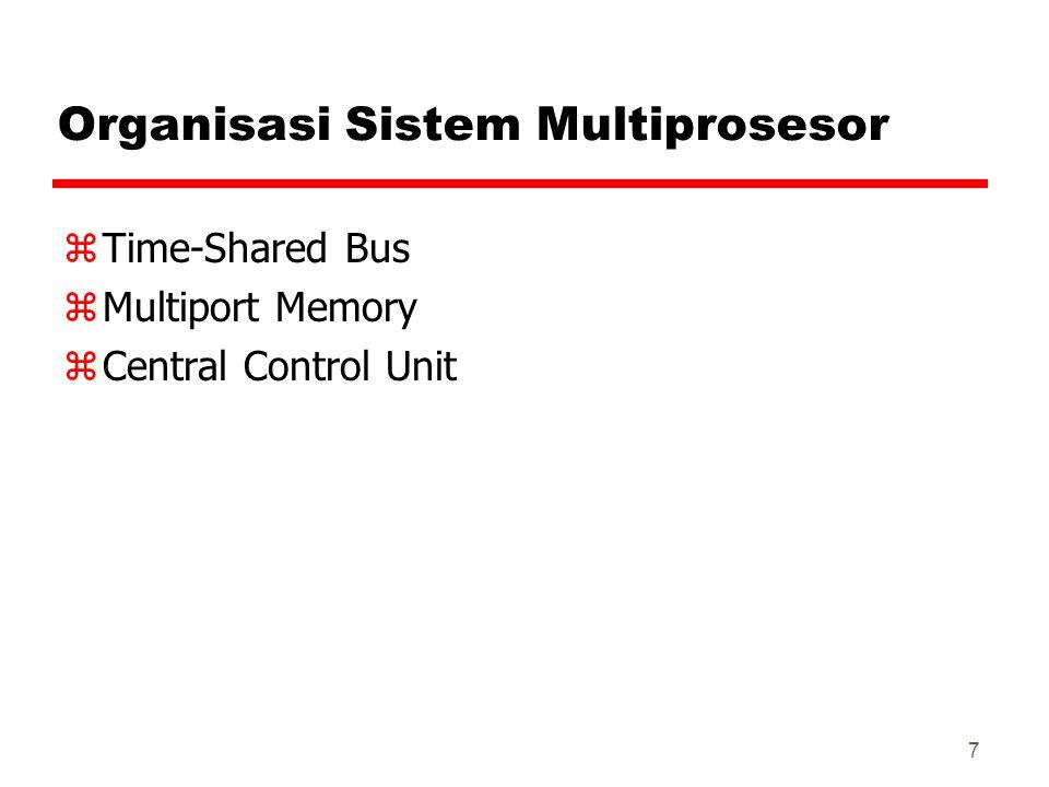 7 Organisasi Sistem Multiprosesor zTime-Shared Bus zMultiport Memory zCentral Control Unit