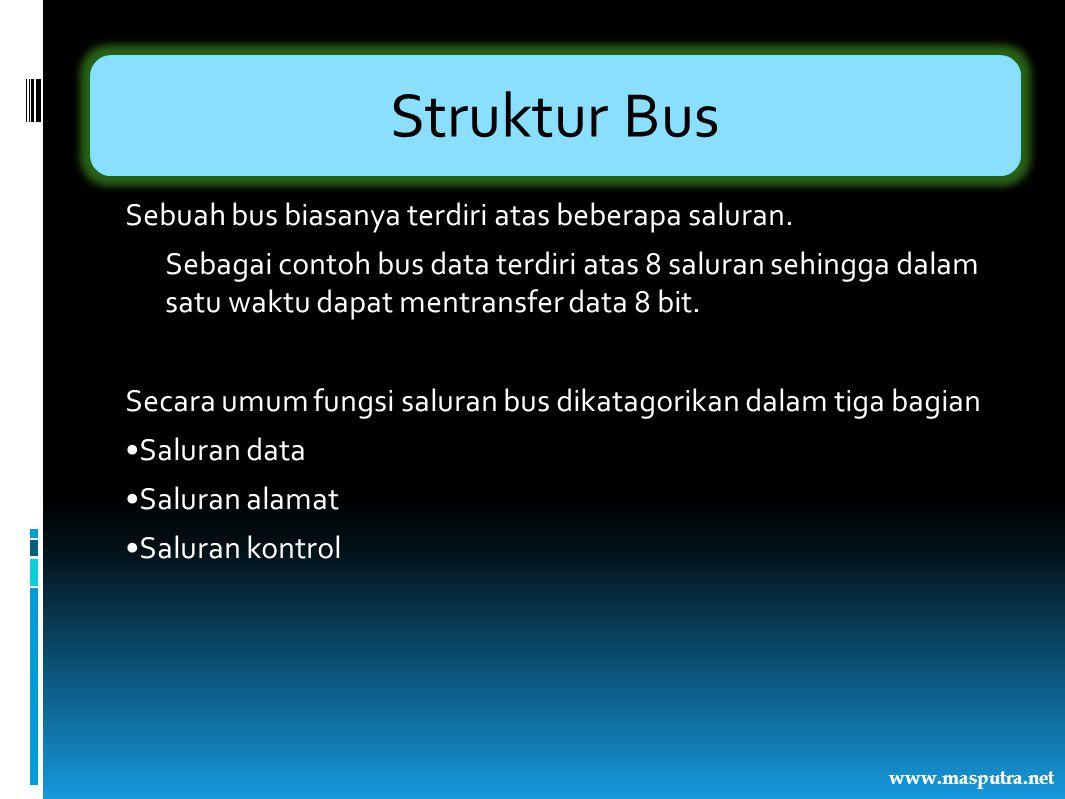 Struktur Bus Sebuah bus biasanya terdiri atas beberapa saluran. Sebagai contoh bus data terdiri atas 8 saluran sehingga dalam satu waktu dapat mentran