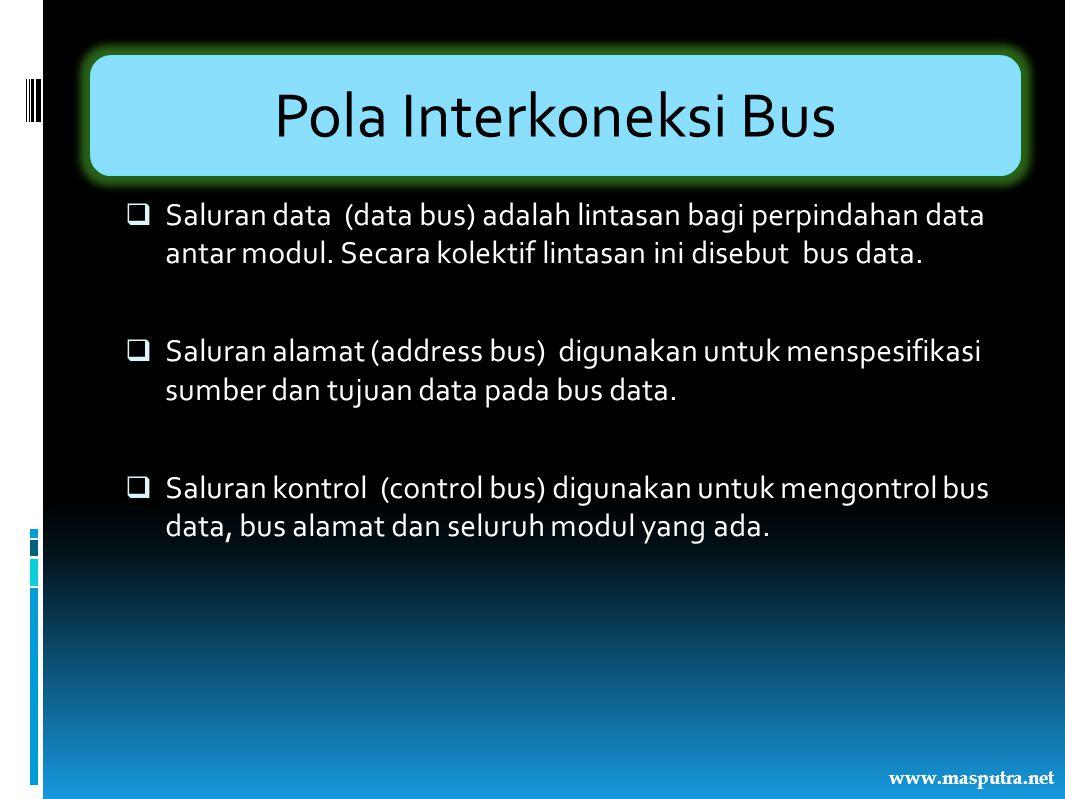 Pola Interkoneksi Bus  Saluran data (data bus) adalah lintasan bagi perpindahan data antar modul. Secara kolektif lintasan ini disebut bus data.  Sa