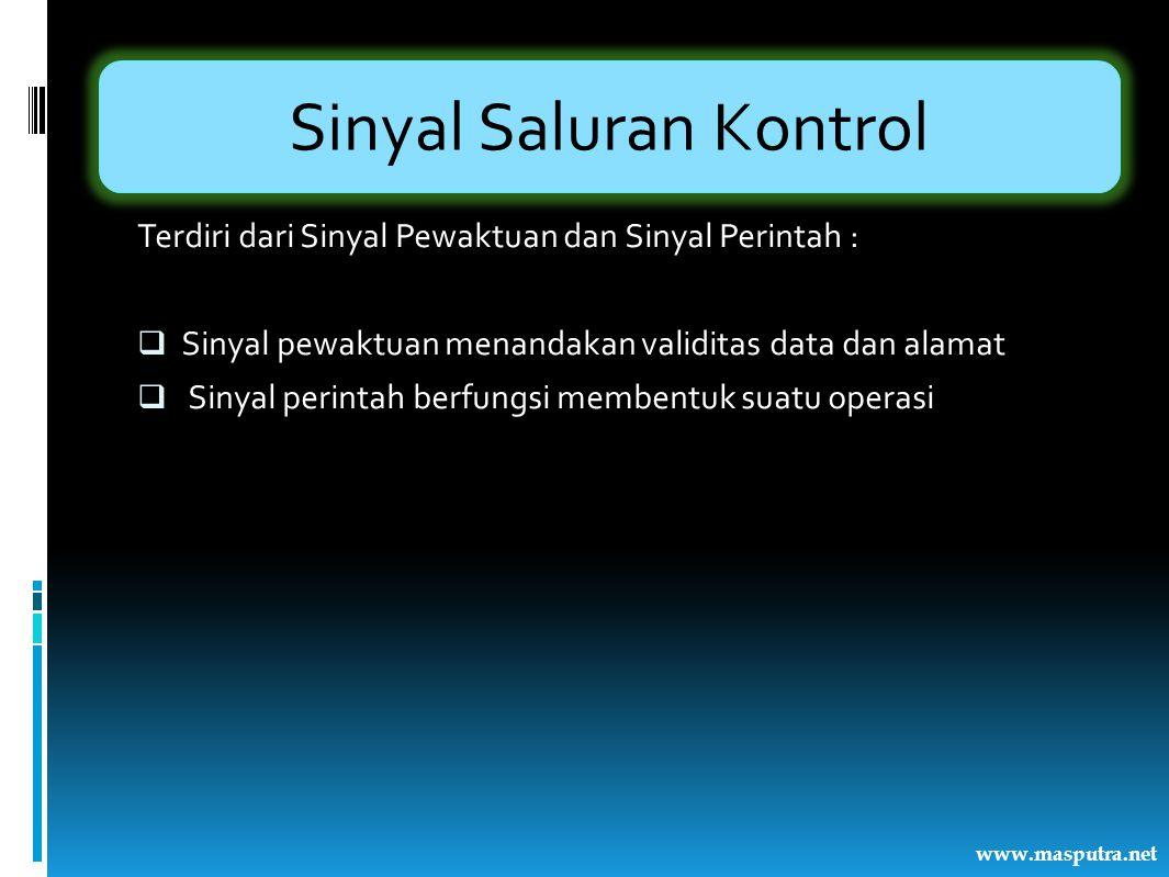 Sinyal Saluran Kontrol Terdiri dari Sinyal Pewaktuan dan Sinyal Perintah :  Sinyal pewaktuan menandakan validitas data dan alamat  Sinyal perintah b