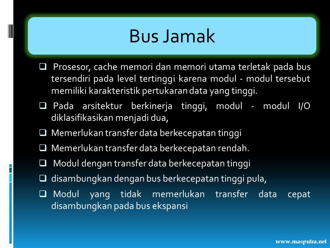 Bus Jamak  Prosesor, cache memori dan memori utama terletak pada bus tersendiri pada level tertinggi karena modul - modul tersebut memiliki karakteri