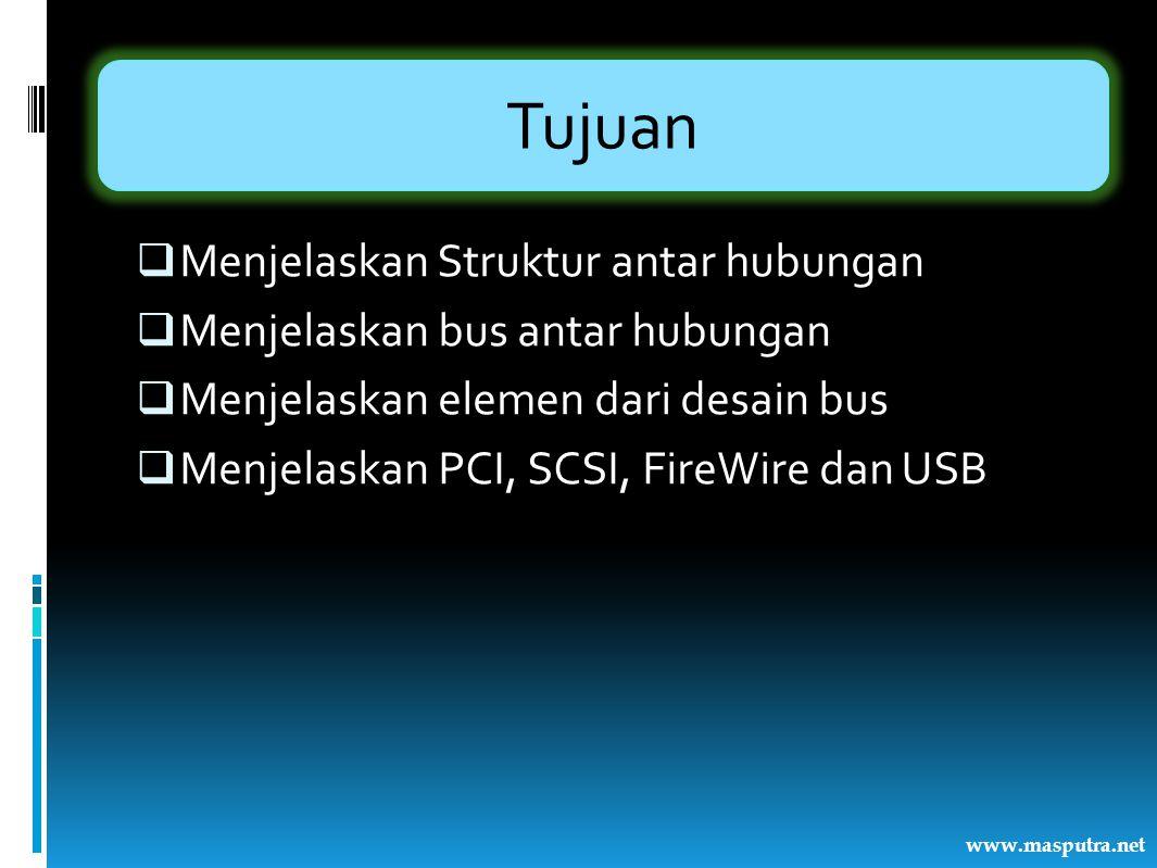 Tujuan  Menjelaskan Struktur antar hubungan  Menjelaskan bus antar hubungan  Menjelaskan elemen dari desain bus  Menjelaskan PCI, SCSI, FireWire d