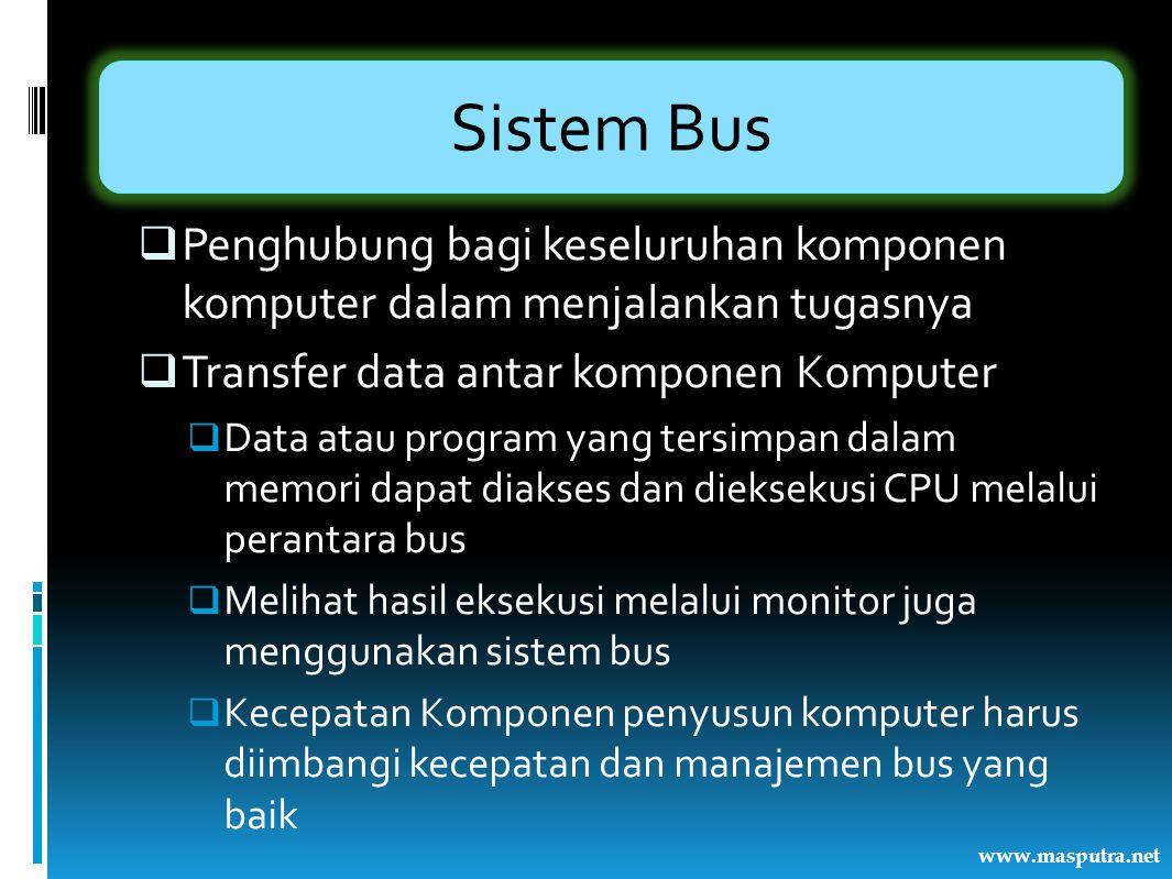 Sistem Bus  Mikroprosesor  Melakukan pekerjaan secara paralel  Program dijalankan secara mulititasking  Sistem bus tidak hanya lebar tapi juga cepat  Interkoneksi komponen sistem komputer dalam menjalankan fungsinya  Interkoneksi Bus  Pertimbangan-pertimbangan perancangan bus www.masputra.net