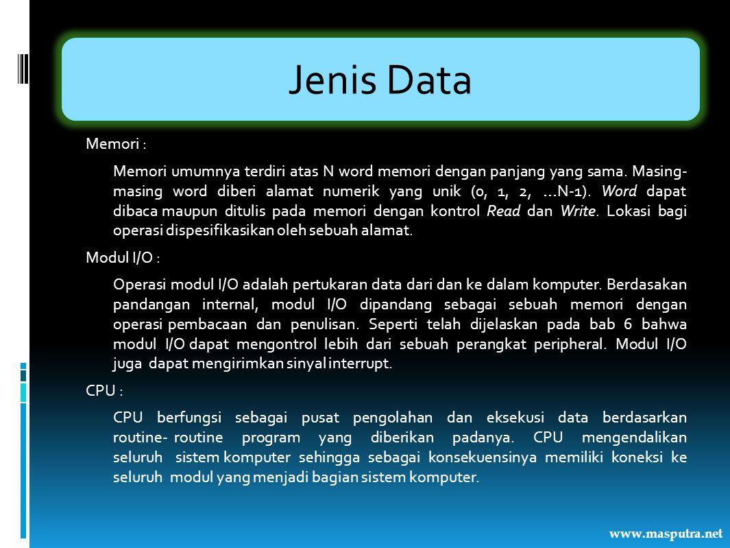 Jenis Data Memori : Memori umumnya terdiri atas N word memori dengan panjang yang sama. Masing- masing word diberi alamat numerik yang unik (0, 1, 2,