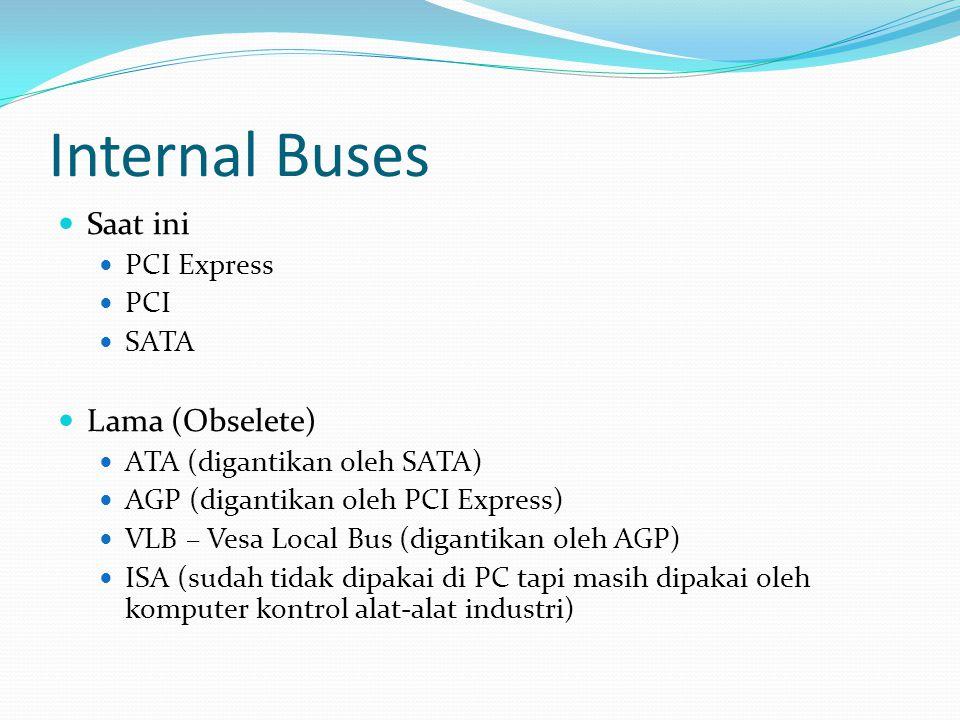Internal Buses  Saat ini  PCI Express  PCI  SATA  Lama (Obselete)  ATA (digantikan oleh SATA)  AGP (digantikan oleh PCI Express)  VLB – Vesa L