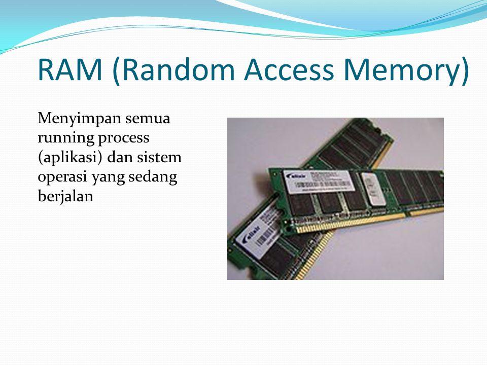 RAM (Random Access Memory) Menyimpan semua running process (aplikasi) dan sistem operasi yang sedang berjalan