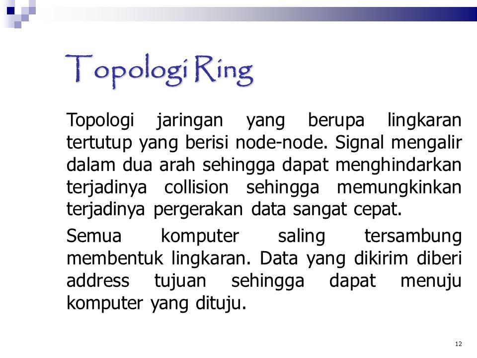12 Topologi Ring Topologi jaringan yang berupa lingkaran tertutup yang berisi node-node. Signal mengalir dalam dua arah sehingga dapat menghindarkan t