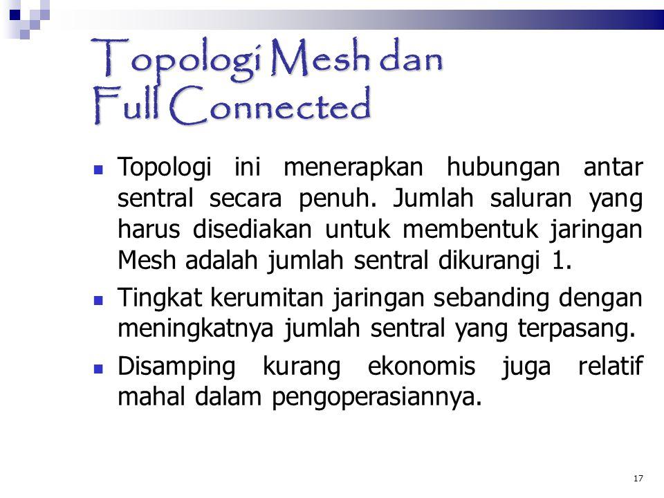 17 Topologi Mesh dan Full Connected  Topologi ini menerapkan hubungan antar sentral secara penuh. Jumlah saluran yang harus disediakan untuk membentu