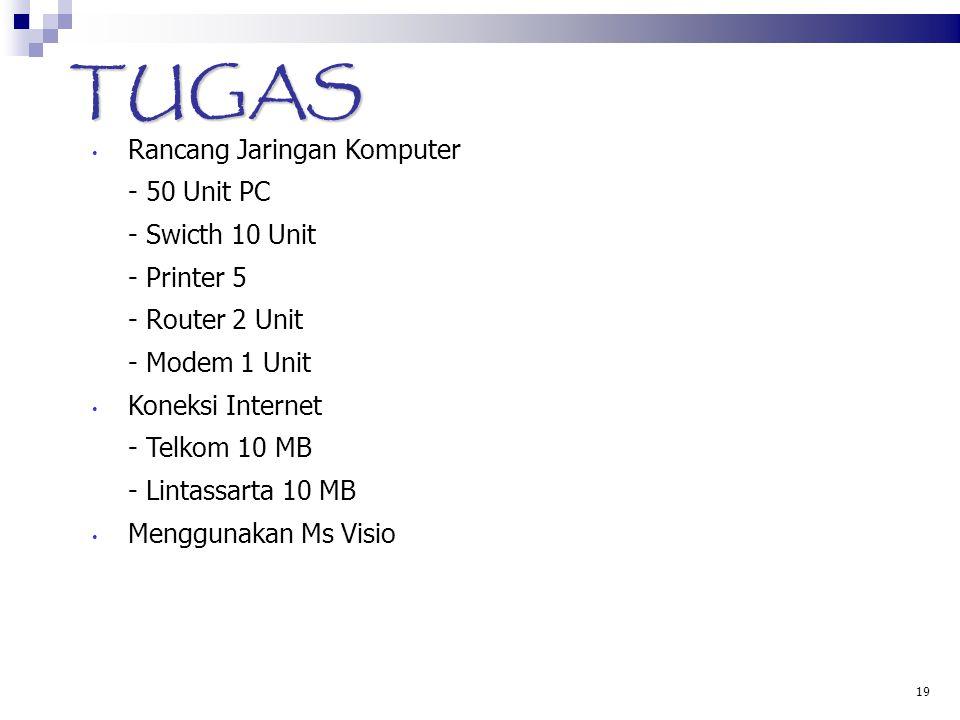 19 TUGAS • Rancang Jaringan Komputer - 50 Unit PC - Swicth 10 Unit - Printer 5 - Router 2 Unit - Modem 1 Unit • Koneksi Internet - Telkom 10 MB - Lint