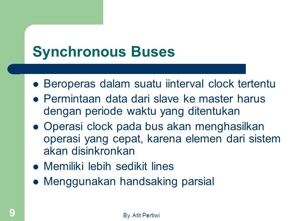 By. Atit Pertiwi 9 Synchronous Buses  Beroperas dalam suatu iinterval clock tertentu  Permintaan data dari slave ke master harus dengan periode wakt