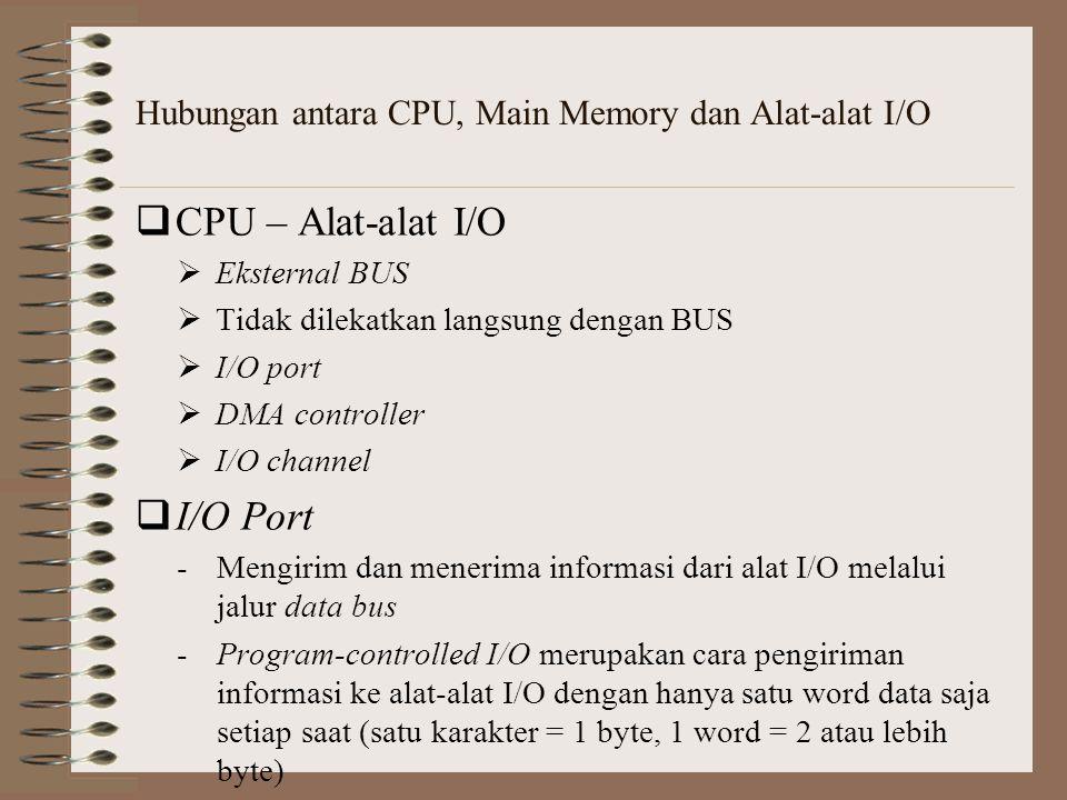  CPU – Alat-alat I/O  Eksternal BUS  Tidak dilekatkan langsung dengan BUS  I/O port  DMA controller  I/O channel  I/O Port -Mengirim dan meneri
