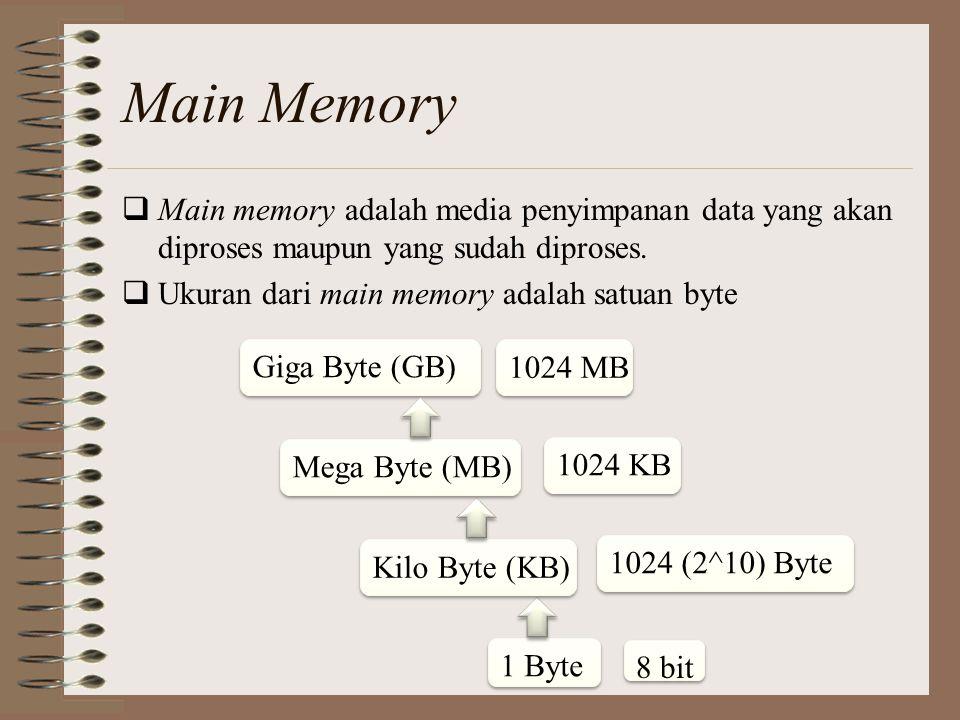 Main Memory  Main memory adalah media penyimpanan data yang akan diproses maupun yang sudah diproses.  Ukuran dari main memory adalah satuan byte 8