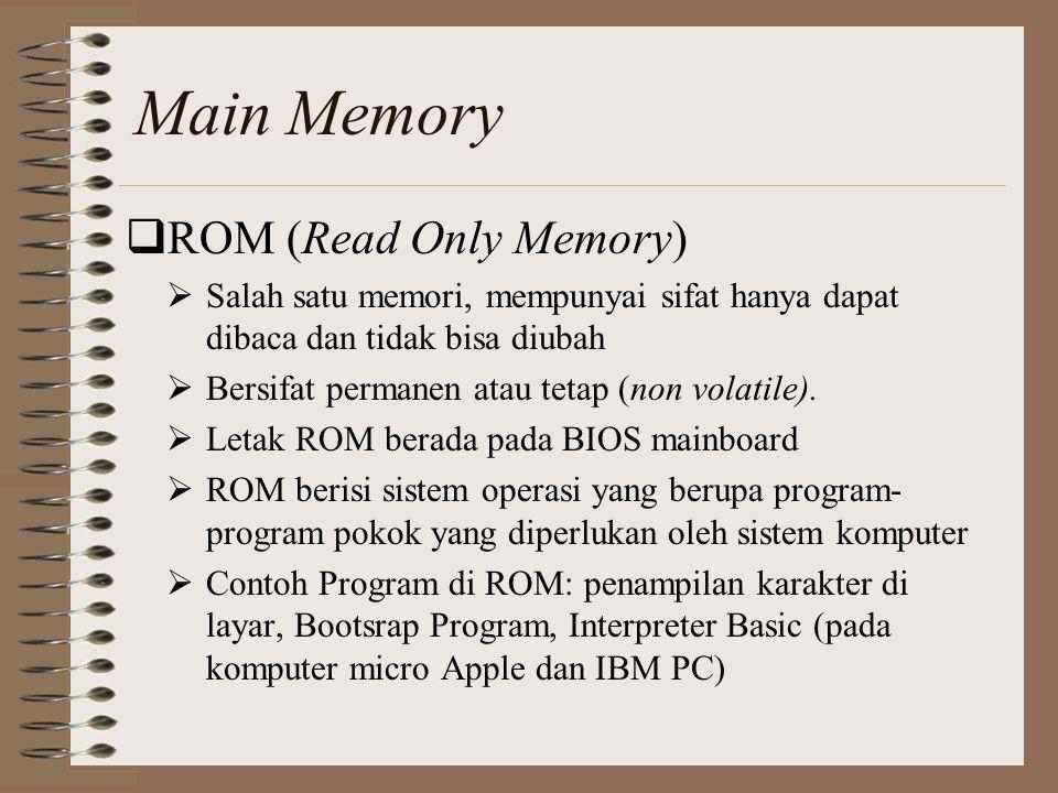  ROM (Read Only Memory)  Salah satu memori, mempunyai sifat hanya dapat dibaca dan tidak bisa diubah  Bersifat permanen atau tetap (non volatile).