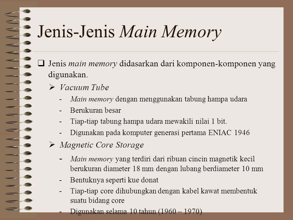 Jenis-Jenis Main Memory  Jenis main memory didasarkan dari komponen-komponen yang digunakan.  Vacuum Tube -Main memory dengan menggunakan tabung ham