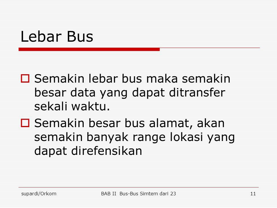 supardi/OrkomBAB II Bus-Bus Simtem dari 2311 Lebar Bus  Semakin lebar bus maka semakin besar data yang dapat ditransfer sekali waktu.  Semakin besar