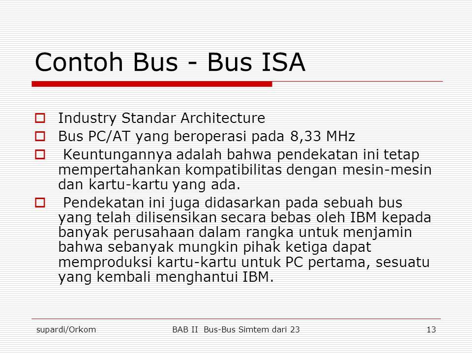 supardi/OrkomBAB II Bus-Bus Simtem dari 2313 Contoh Bus - Bus ISA  Industry Standar Architecture  Bus PC/AT yang beroperasi pada 8,33 MHz  Keuntung