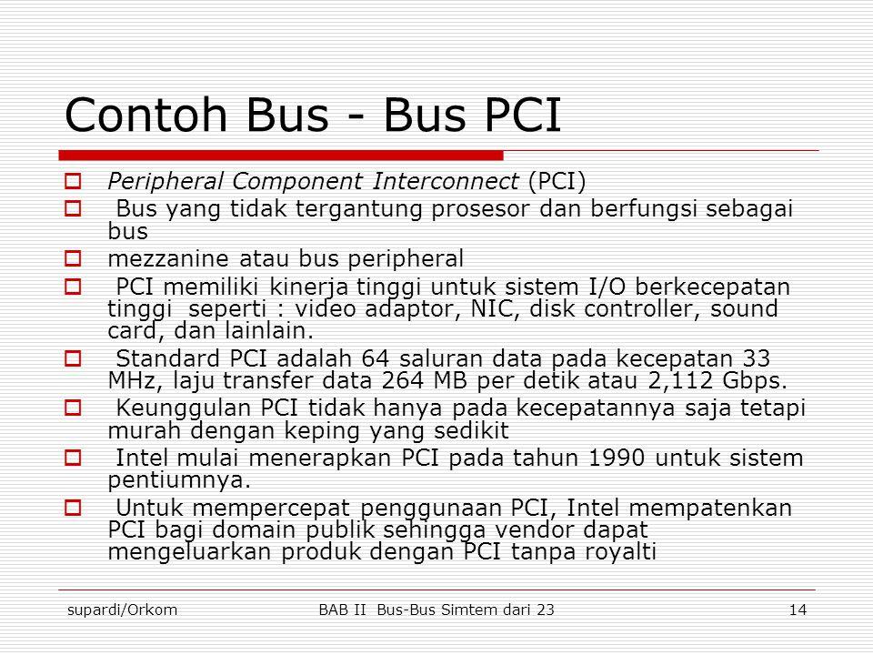 supardi/OrkomBAB II Bus-Bus Simtem dari 2314 Contoh Bus - Bus PCI  Peripheral Component Interconnect (PCI)  Bus yang tidak tergantung prosesor dan b