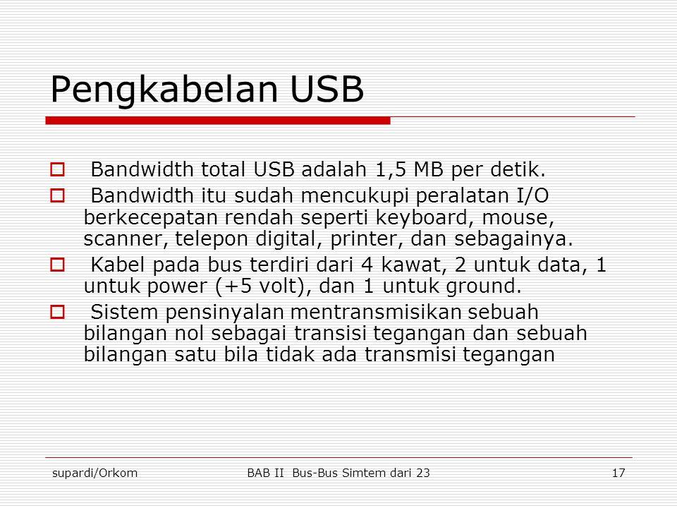 supardi/OrkomBAB II Bus-Bus Simtem dari 2317 Pengkabelan USB  Bandwidth total USB adalah 1,5 MB per detik.  Bandwidth itu sudah mencukupi peralatan