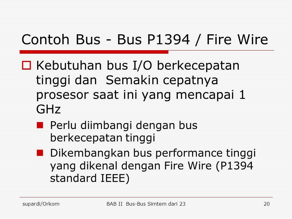 supardi/OrkomBAB II Bus-Bus Simtem dari 2320 Contoh Bus - Bus P1394 / Fire Wire  Kebutuhan bus I/O berkecepatan tinggi dan Semakin cepatnya prosesor