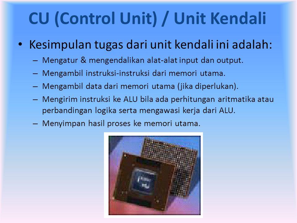 CU (Control Unit) / Unit Kendali • Kesimpulan tugas dari unit kendali ini adalah: – Mengatur & mengendalikan alat-alat input dan output. – Mengambil i