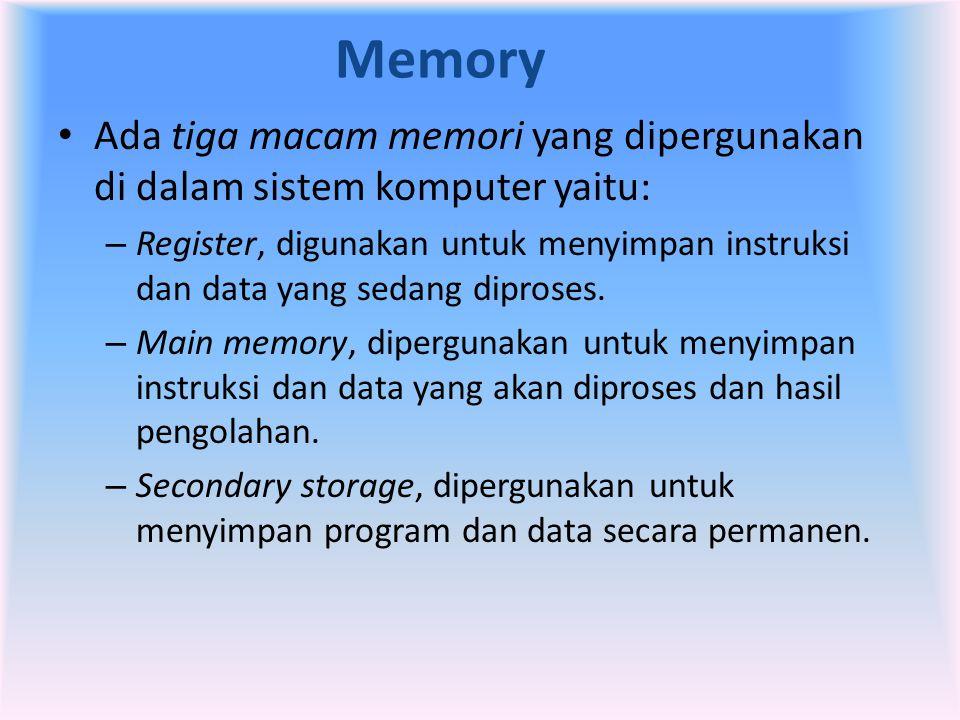 Memory • Ada tiga macam memori yang dipergunakan di dalam sistem komputer yaitu: – Register, digunakan untuk menyimpan instruksi dan data yang sedang