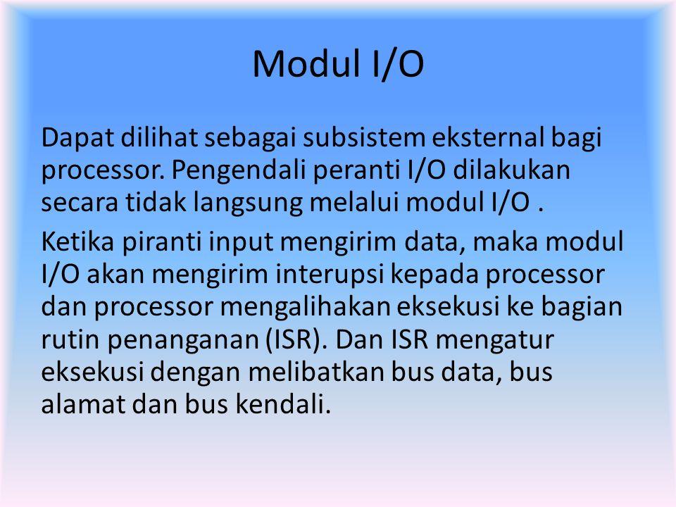 Modul I/O Dapat dilihat sebagai subsistem eksternal bagi processor. Pengendali peranti I/O dilakukan secara tidak langsung melalui modul I/O. Ketika p