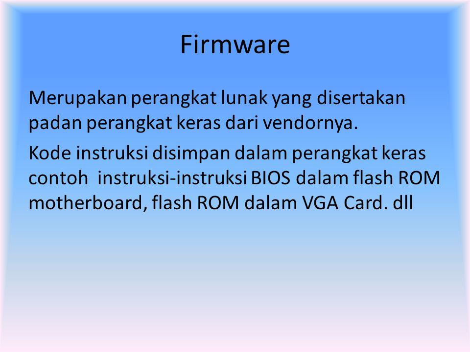 Firmware Merupakan perangkat lunak yang disertakan padan perangkat keras dari vendornya. Kode instruksi disimpan dalam perangkat keras contoh instruks
