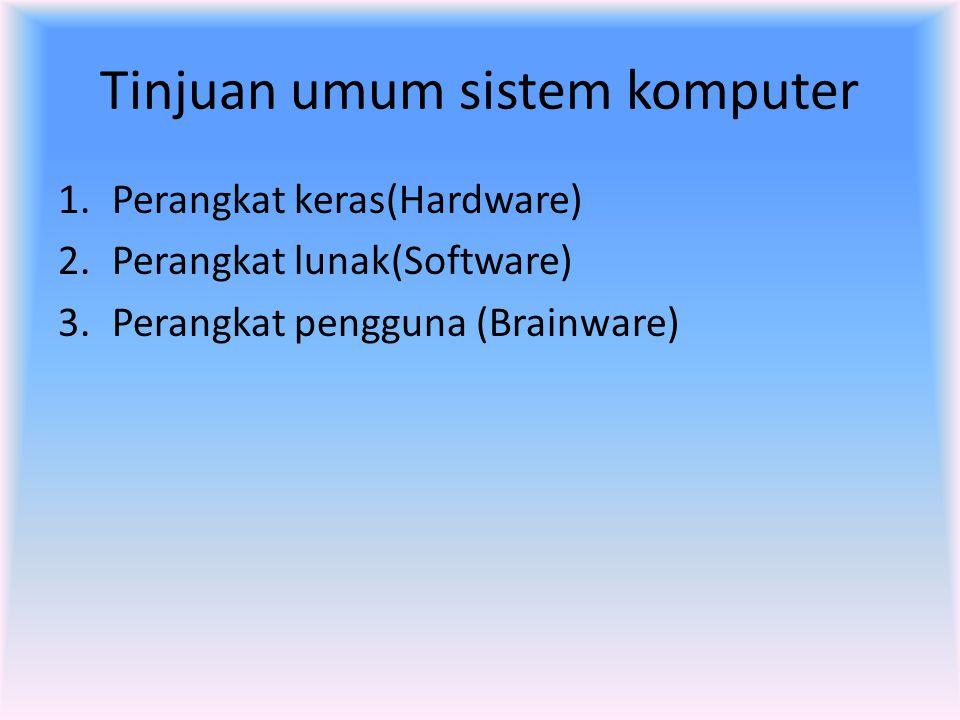 Tinjuan umum sistem komputer 1.Perangkat keras(Hardware) 2.Perangkat lunak(Software) 3.Perangkat pengguna (Brainware)