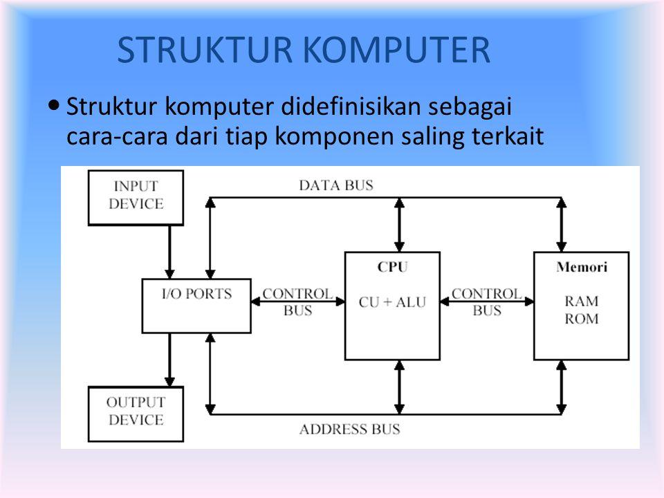 STRUKTUR KOMPUTER  Struktur komputer didefinisikan sebagai cara-cara dari tiap komponen saling terkait