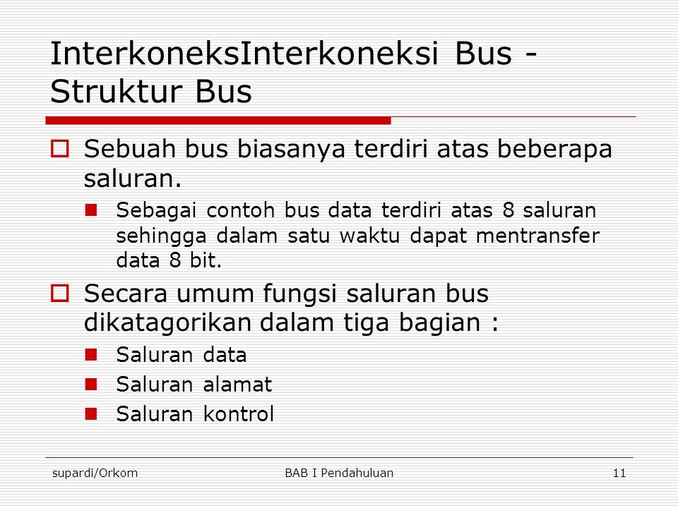 supardi/OrkomBAB I Pendahuluan11 InterkoneksInterkoneksi Bus - Struktur Bus  Sebuah bus biasanya terdiri atas beberapa saluran.  Sebagai contoh bus