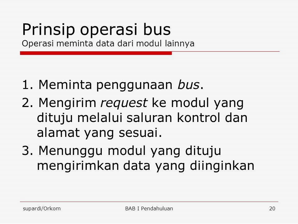 supardi/OrkomBAB I Pendahuluan20 Prinsip operasi bus Operasi meminta data dari modul lainnya 1. Meminta penggunaan bus. 2. Mengirim request ke modul y