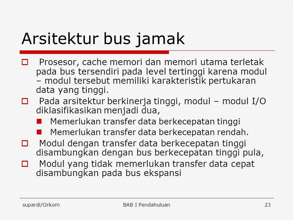 supardi/OrkomBAB I Pendahuluan23 Arsitektur bus jamak  Prosesor, cache memori dan memori utama terletak pada bus tersendiri pada level tertinggi kare