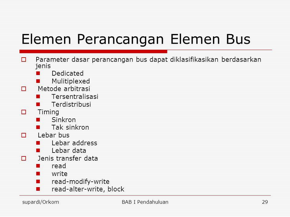 supardi/OrkomBAB I Pendahuluan29 Elemen Perancangan Elemen Bus  Parameter dasar perancangan bus dapat diklasifikasikan berdasarkan jenis  Dedicated