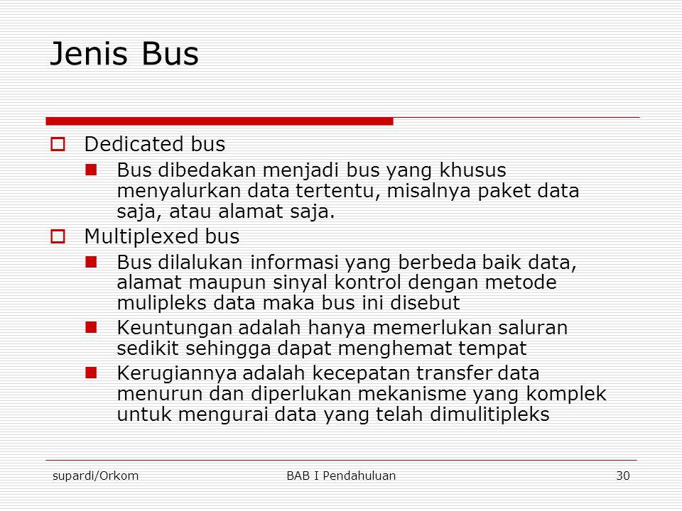 supardi/OrkomBAB I Pendahuluan30 Jenis Bus  Dedicated bus  Bus dibedakan menjadi bus yang khusus menyalurkan data tertentu, misalnya paket data saja